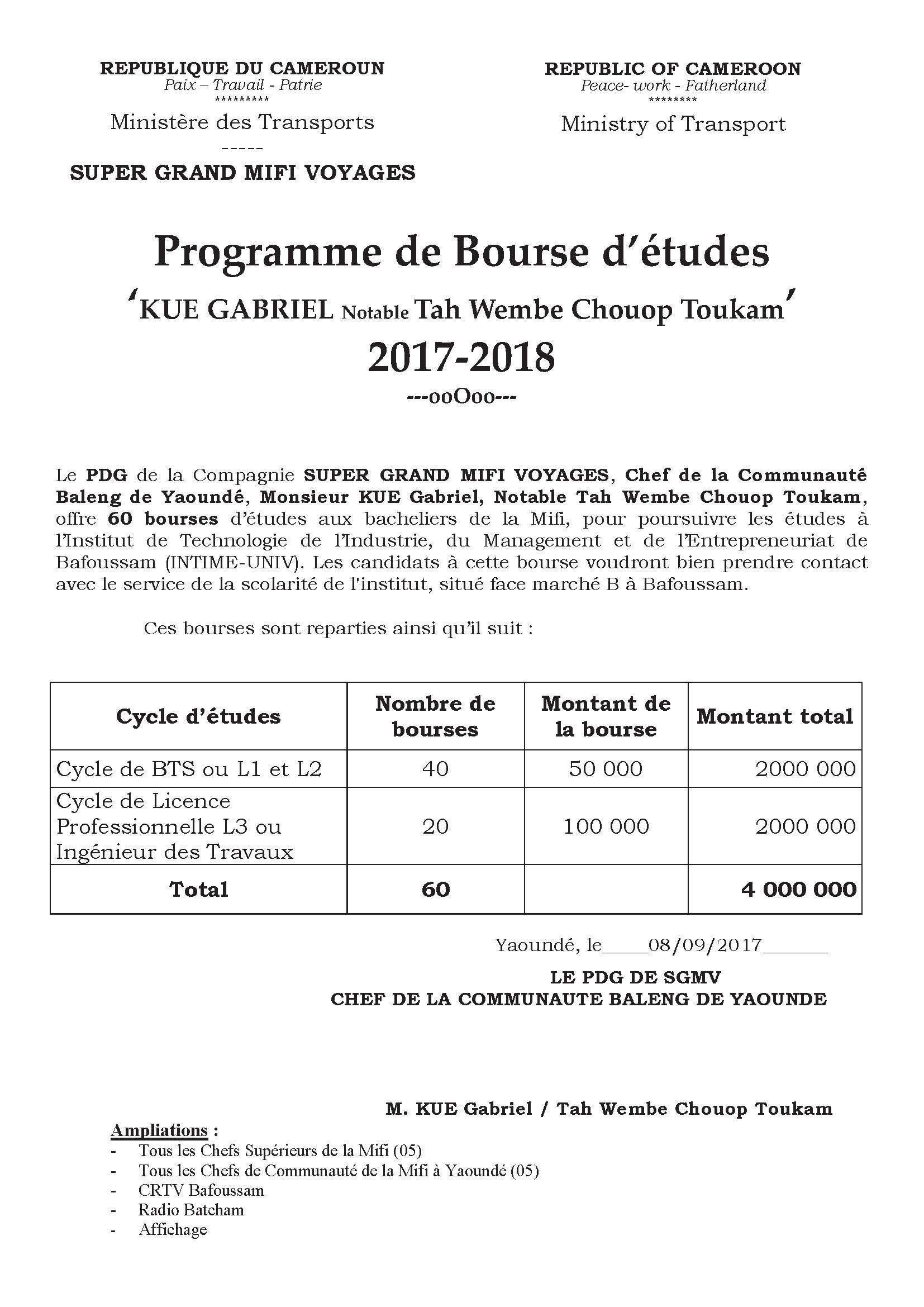 Bourse KUE GABRIEL